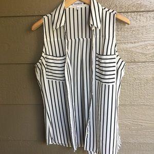 Express Portfino striped button up sleeveless top